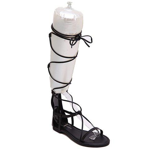 Casual Zipper and Cross-Straps Design Women's Sandals - BLACK 38