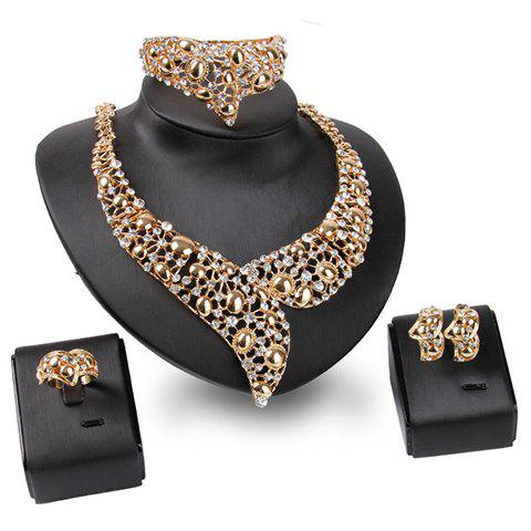 A Suit of Chic Rhinestoned Necklace Bracelet Ring and Earrings For Women - GOLDEN ONE-SIZE