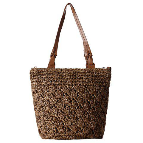 Casual Straw and Solid Color Design Women's Shoulder Bag - BROWN