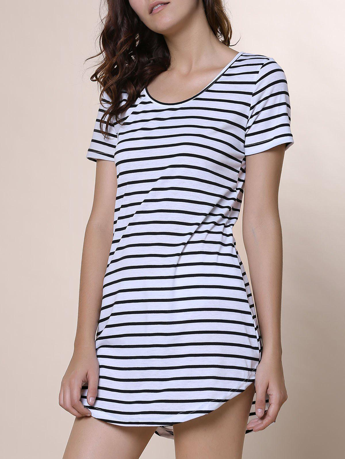 Casual Women's Scoop Neck Striped Short Sleeve Dress - WHITE M