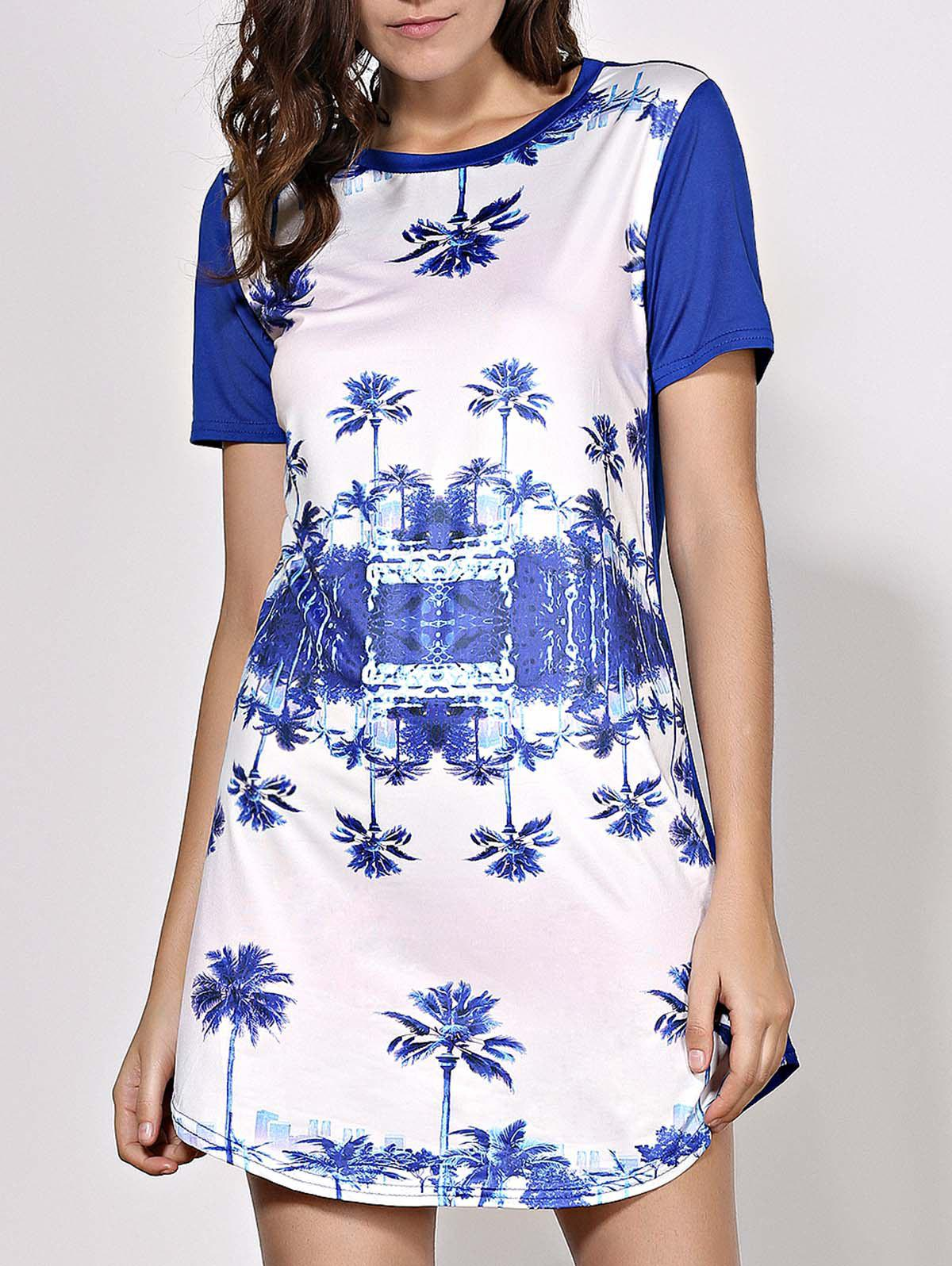 Casual Round Neck Trees Print Dress For Women - PURPLISH BLUE S