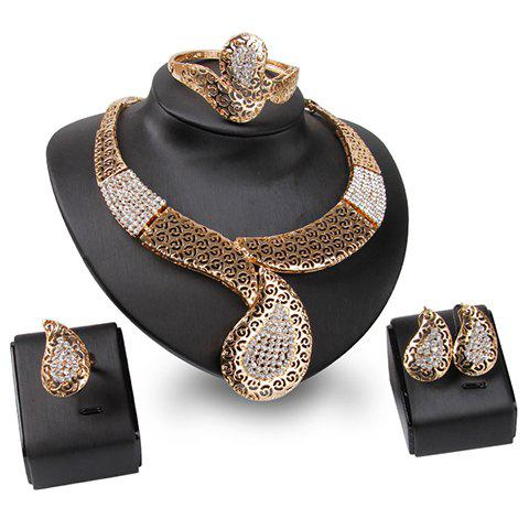 A Suit of Simple Style Rhinestone Hollow Out Necklace Bracelet Ring and Earrings For Women
