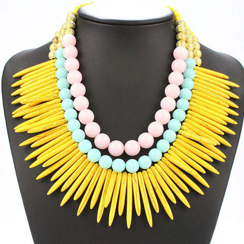 Multilayer Cone Beads Tassel Necklace - YELLOW