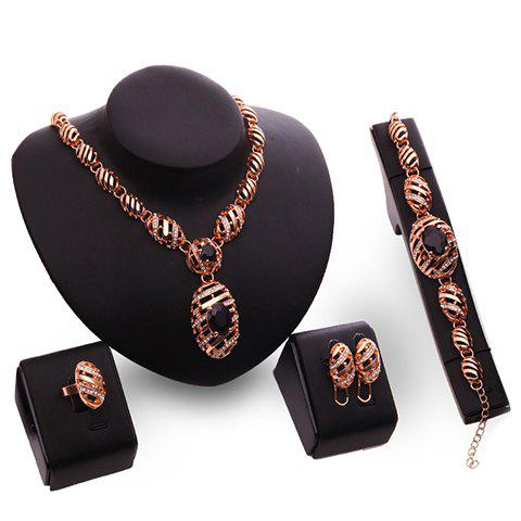 A Suit of Chic Faux Amethyst Oval Necklace Bracelet Ring and Earrings For Women