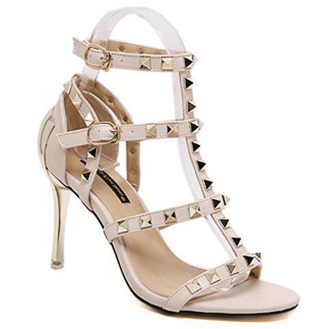 Fashionable T-Strap and Rivets Design Women's Sandals - APRICOT 38