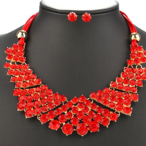 A Suit of Trendy Red Rhinestone Beads Necklace and Earrings For Women