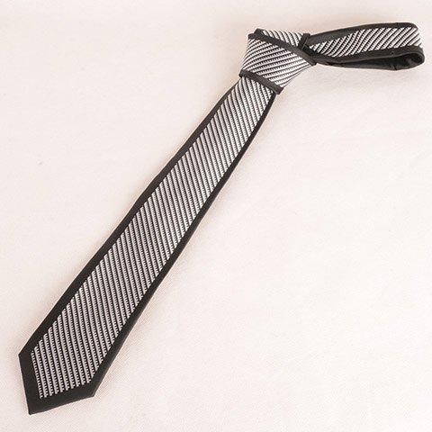 Stylish White Zipper Pattern Black 7CM Width Men's Tie - BLACK