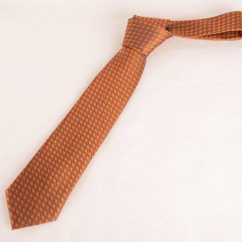 Stylish Small Checkered Pattern Orange Color 8CM Width Men's Tie - ORANGE