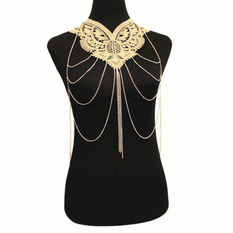 Graceful Layered Faux Lace Body Chain For Women - GOLDEN