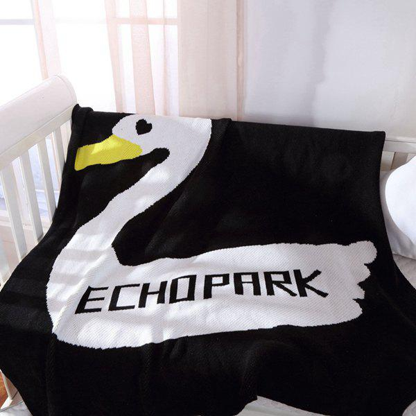 High Quality Duck Pattern Black White Color Cotton Knitted Blanket For Child