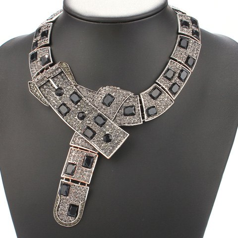 Rhinestone Faux Gem Decorated Belts Shape Necklace - COLORMIX