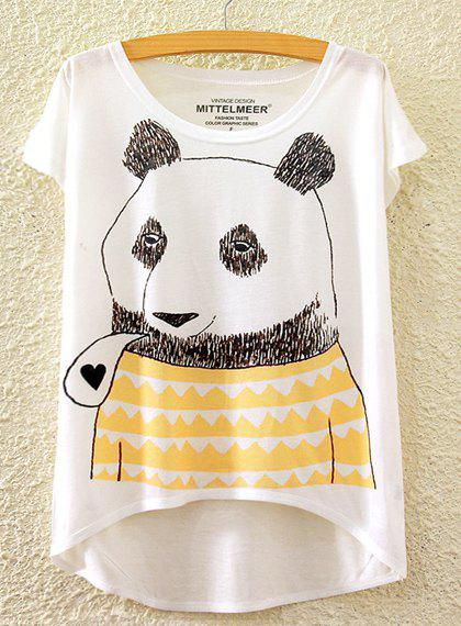 Cute Women's Scoop Neck Panda Print High Low Short Sleeve T-Shirt - WHITE ONE SIZE(FIT SIZE XS TO M)