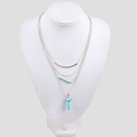 Faux Turquoise Layered Necklace - SILVER