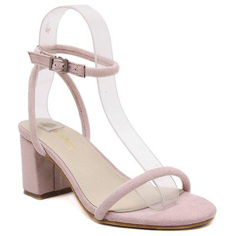 Fashionable Ankle Strap and Solid Color Design Women's Sandals - PINK 37