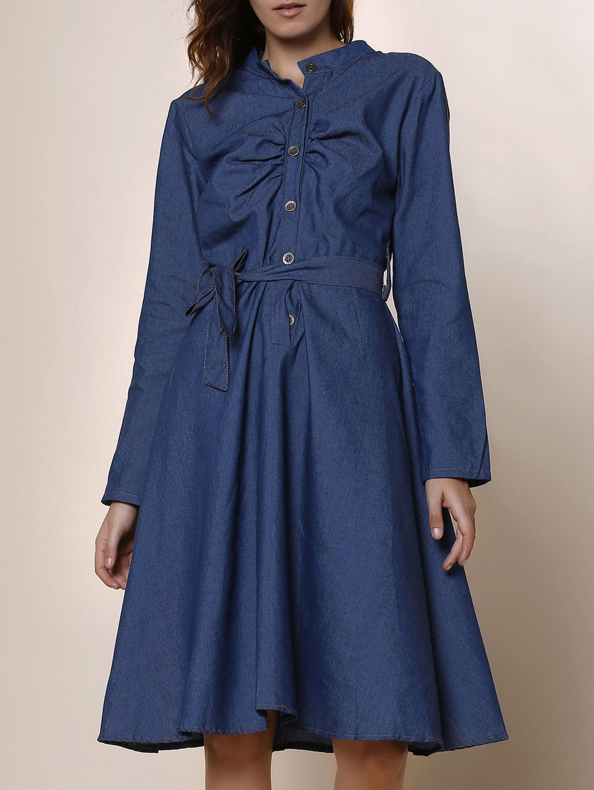 Stylish Long Sleeve Stand-Up Collar Button Design Denim Women's Dress - DEEP BLUE S