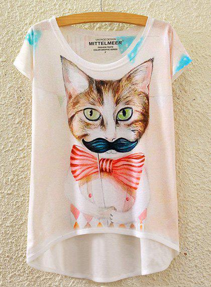 Cute Women's Scoop Neck Kitten Print High Low Short Sleeve T-Shirt - WHITE ONE SIZE(FIT SIZE XS TO M)