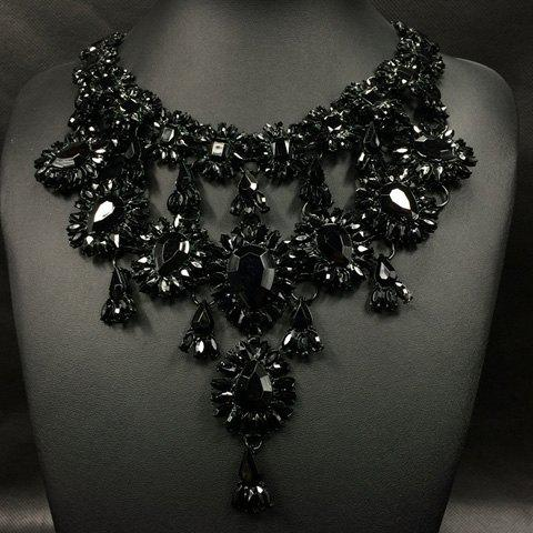 Rhinestoned Water Drop Necklace -  BLACK
