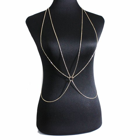 Vintage Solid Color Circle Body Chain For Women - GOLDEN