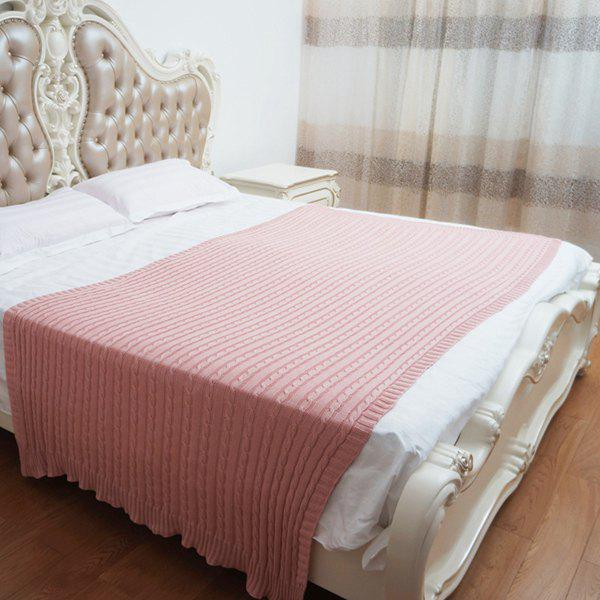 Stylish Solid Color Cotton Hemp Flowers Design Knitted Baby Blanket - PINK