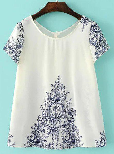Brief Jewel Collar Short Sleeve Porcelain Embellished Blouse For Women - WHITE S