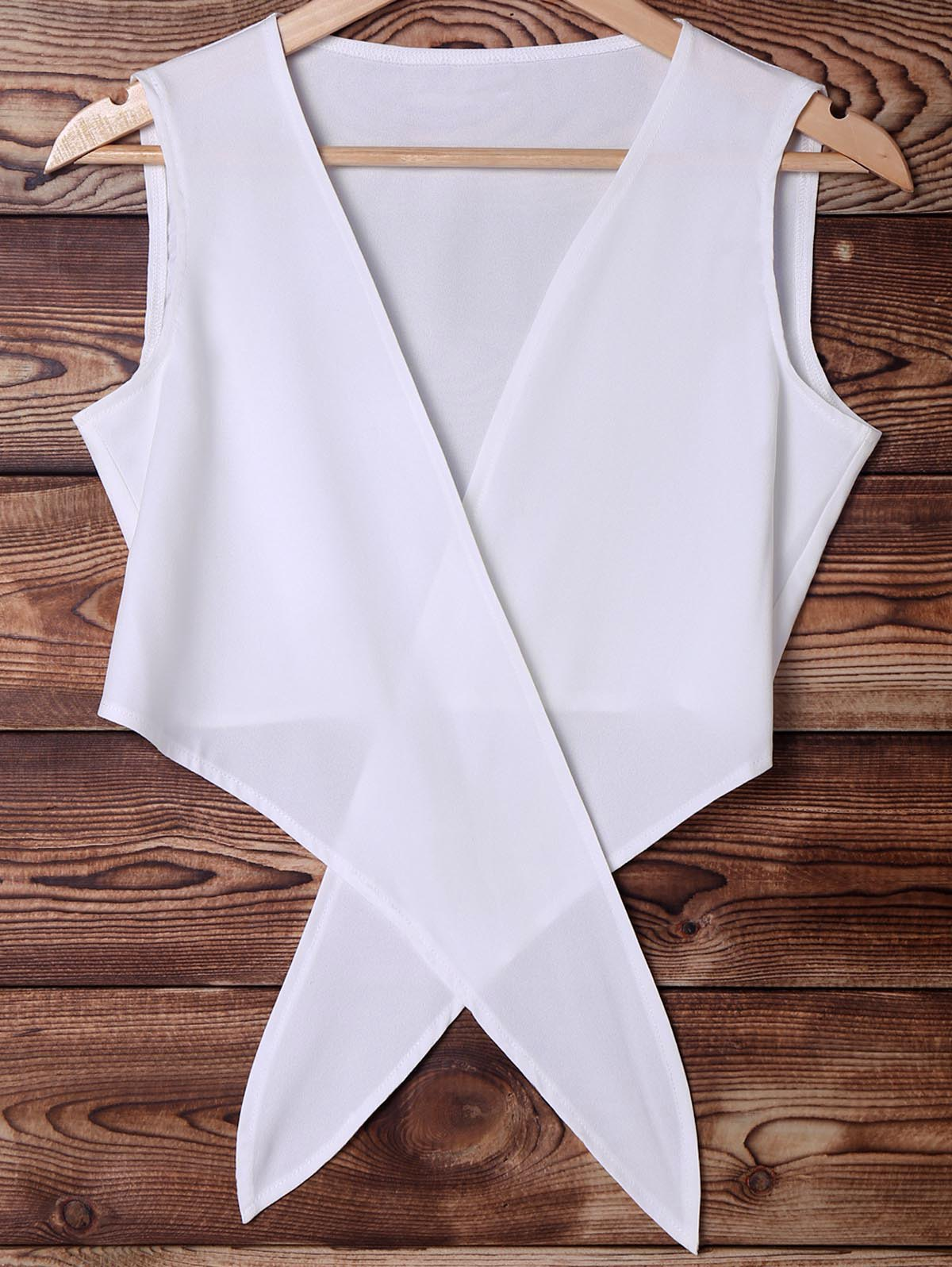 Stylish Plunging Neck Sleeveless White Chiffon Women's Crop Top - WHITE S