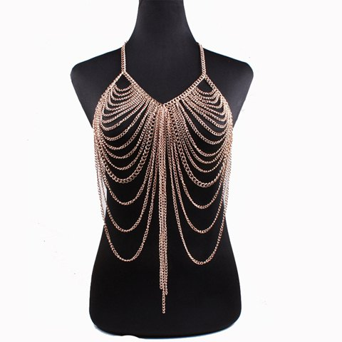 Vintage Layered Hollow Out Body Chain For Women - GOLDEN