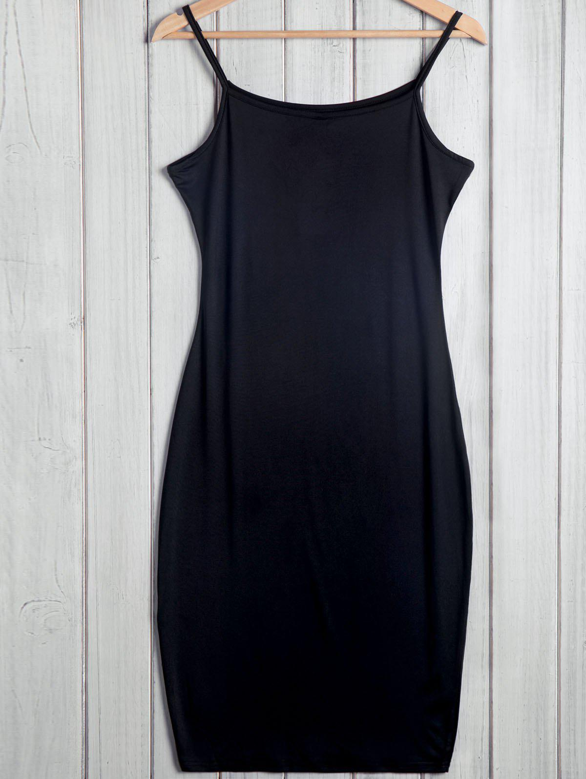 Simple Style Spaghetti Strap Sleeveless Solid Color Bodycon Women's Dress - BLACK XL