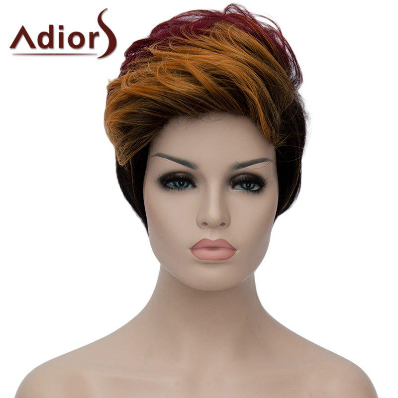 Bouffant Wave Short Capless Stylish Multicolor Highlight Synthetic Adiors Women's Bump Wig - COLORMIX