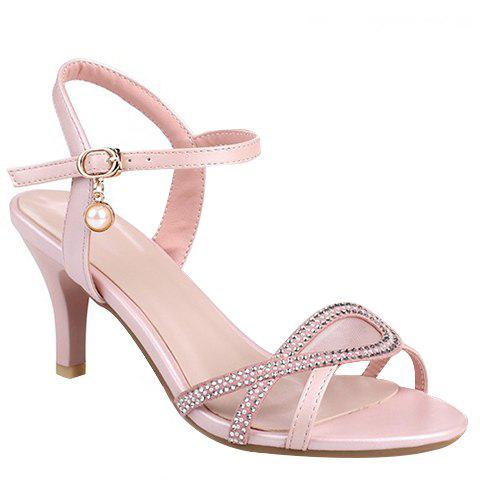 Fashionable Mesh and Rhinestones Design Women's Sandals - PINK 36
