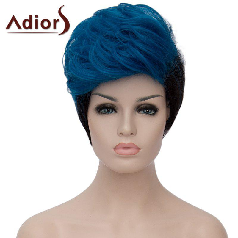Shaggy Natural Wave Attractive Blue Ombre Black Short Synthetic Adiors Bump Wig For Women - BLUE/BLACK