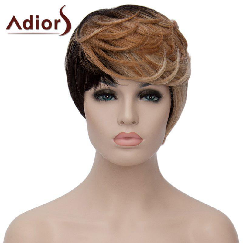 Shaggy Wave Synthetic Trendy Short Black Golden Mixed Side Bang Adiors Wig For Women