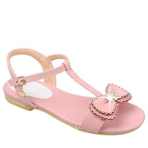 Casual Bowknot and T-Strap Design Women's Sandals - PINK 39