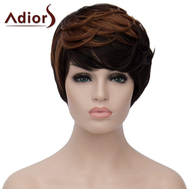 Shaggy Natural Wave Brown Highlight Vogue Side Bang Short Synthetic Adiors Wig For Women vogue medium dark brown synthetic shaggy wave side bang women s capless adiors wig