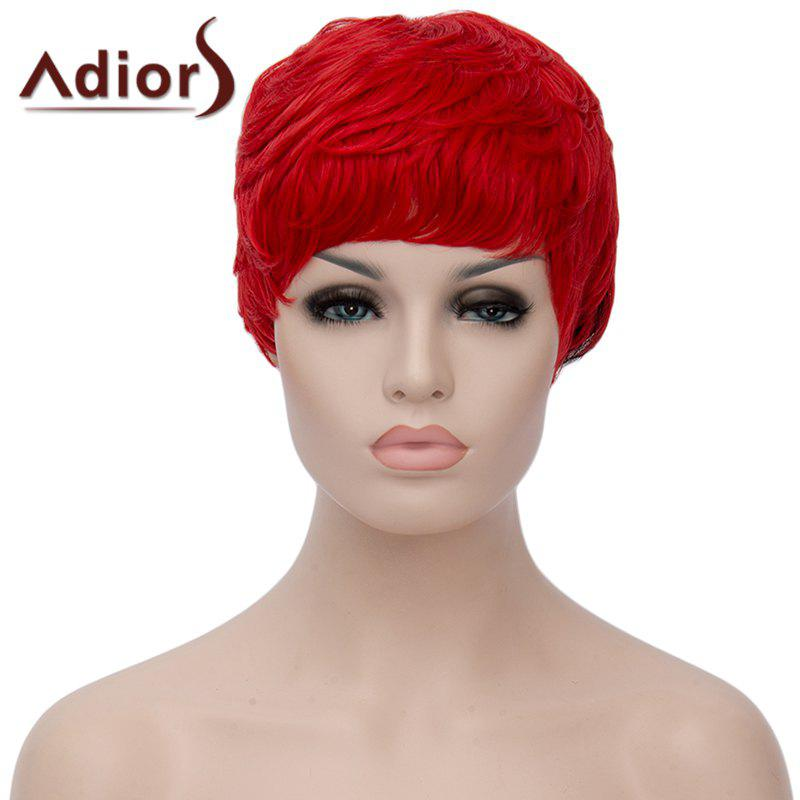 Fluffy Straight Red Black Ombre Synthetic Spiffy Ultrashort Adiors Hair Capless Bump Wig For WomenHair<br><br><br>Color: RED WITH BLACK