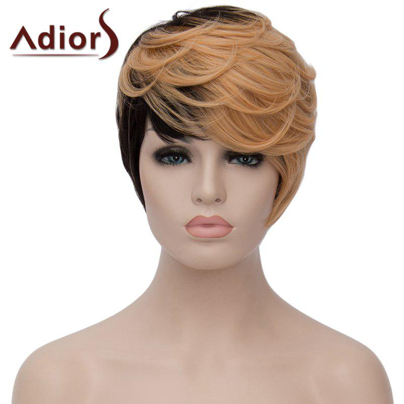 Spiffy Side Bang Light Blonde Mixed Black Synthetic Fluffy Short Wave Capless Women's Adiors Wig