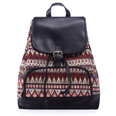 Leisure Jacquard and Buckle Design Women's Satchel - COLORMIX