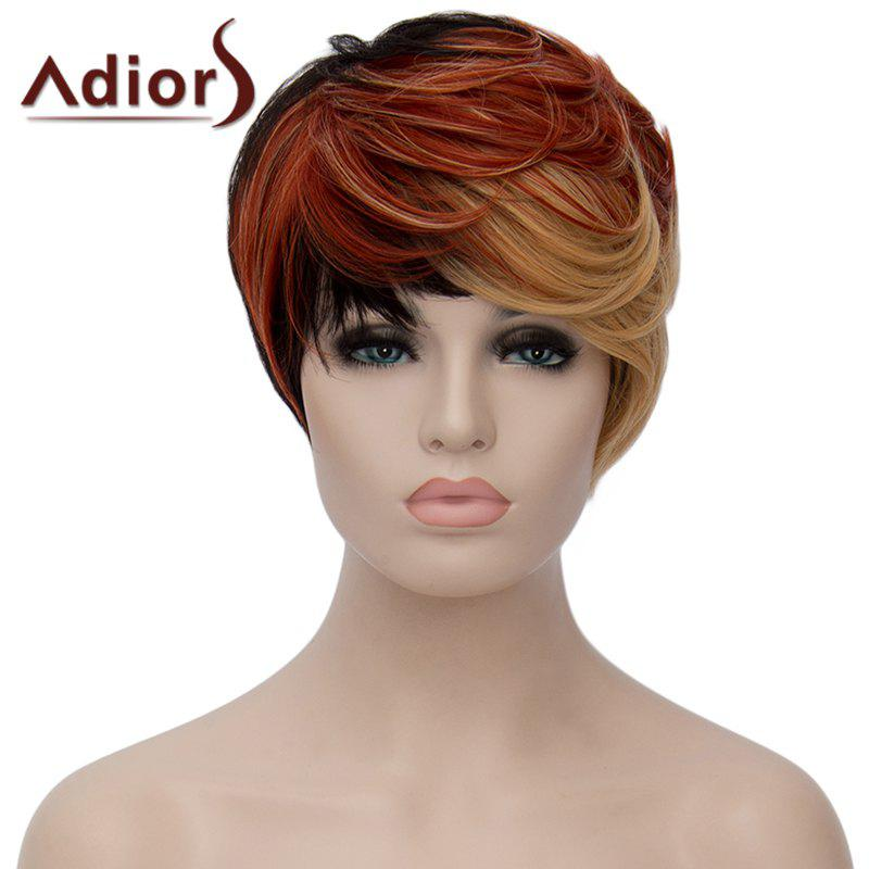Fashion Multicolor Highlight Short Fluffy Natural Wave Synthetic Adiors Wig For Women