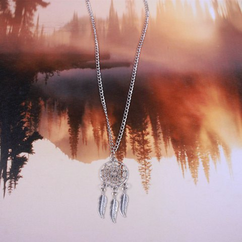 Chic Round Feather Sweater Chain For Women - SILVER