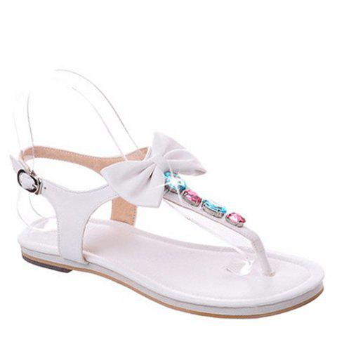Leisure Flip Flop and Candy Color Design Women's Sandals - WHITE 35
