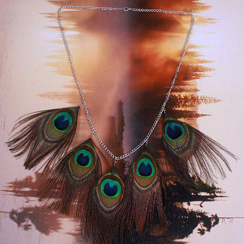 Vintage Faux Peacock Feather Sweater Chain For Women