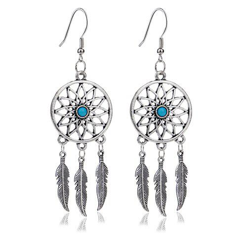 Pair of Gorgeous Faux Turquoise Feather Earrings For Women