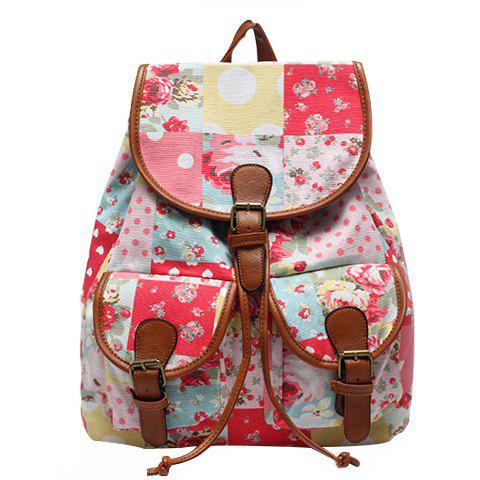 Sweet Buckles and Floral Print Design Women's Satchel - COLORMIX