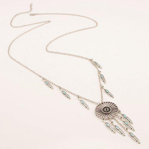 Hollow Out Round Feather Embellished Necklace - SILVER