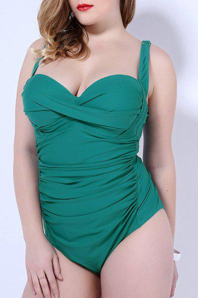 Elegant Spaghetti Strap Plus Size One Piece Solid Color Draped Women's Swimwear - GREEN 2XL
