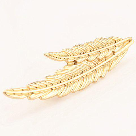 Chic Feather Shape Women's Alloy Brooch - GOLDEN