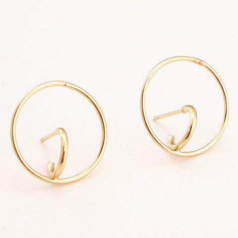 Chic Hollow Alloy Circle Ring Women's Stud Earrings