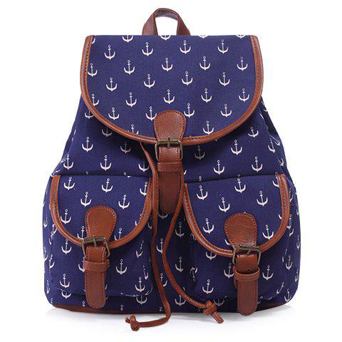 Leisure Anchor Print and Buckle Design Women's Satchel - DEEP BLUE