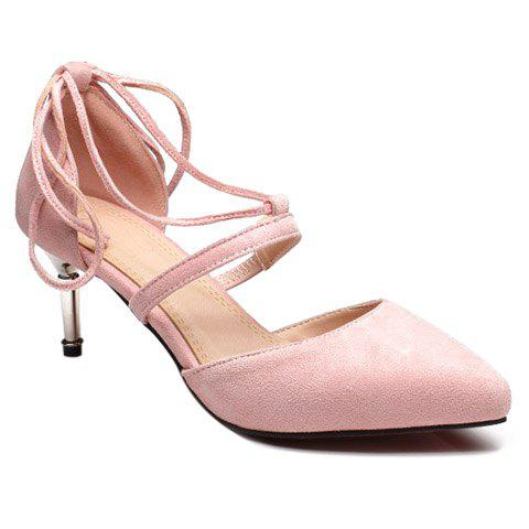 Ladylike Suede and Lace-Up Design Women's Pumps - PINK 39