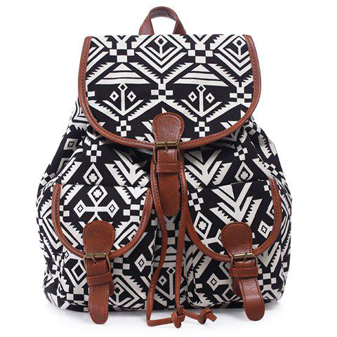 Leisure Geometric Print and Buckle Design Women's Satchel - BLACK