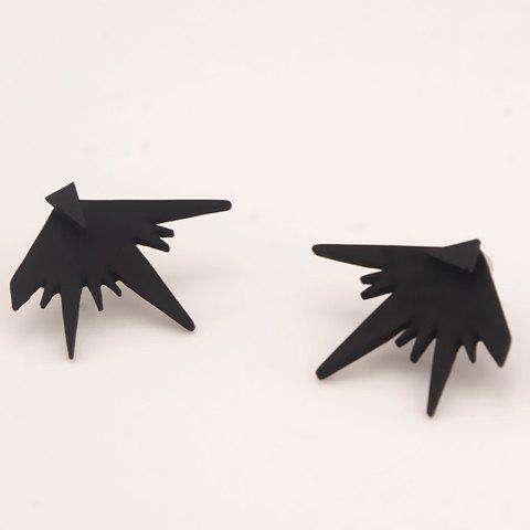 Irregular Geometry Shape Stud Earrings - BLACK